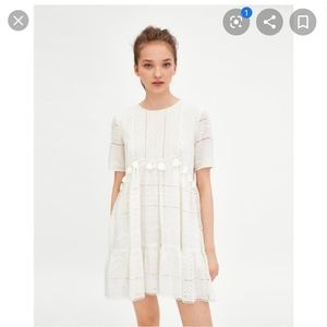 Zara white embroidered open cutwork mini dress